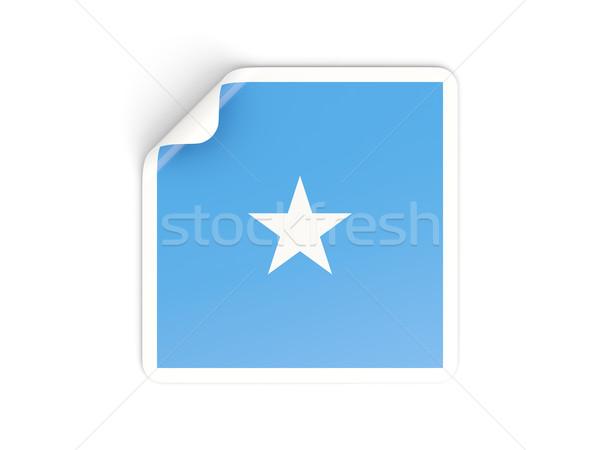 Placu naklejki banderą Somali odizolowany biały Zdjęcia stock © MikhailMishchenko