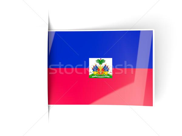 Carré étiquette pavillon Haïti isolé blanche Photo stock © MikhailMishchenko