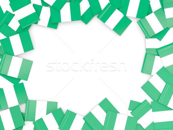 Quadro bandeira Nigéria isolado branco Foto stock © MikhailMishchenko