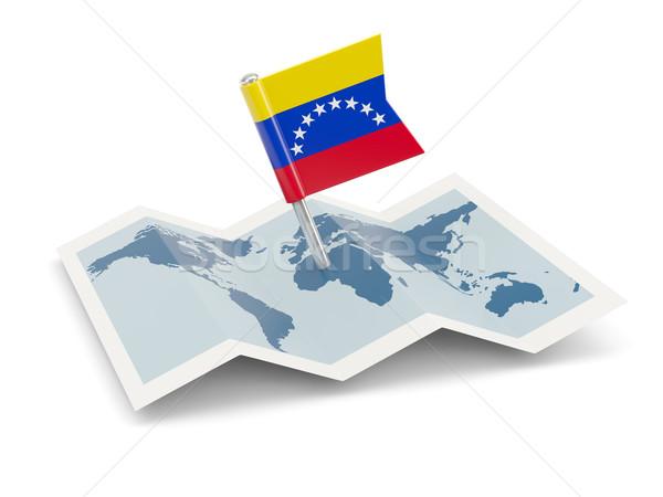 Térkép zászló Venezuela izolált fehér vidék Stock fotó © MikhailMishchenko