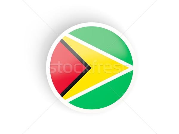 Sticker vlag Guyana geïsoleerd witte reizen Stockfoto © MikhailMishchenko
