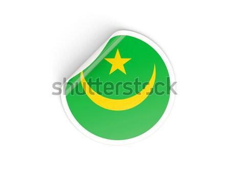 Round sticker with flag of mauritania Stock photo © MikhailMishchenko