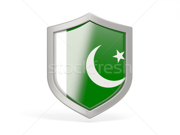 Pajzs ikon zászló Pakisztán izolált fehér Stock fotó © MikhailMishchenko