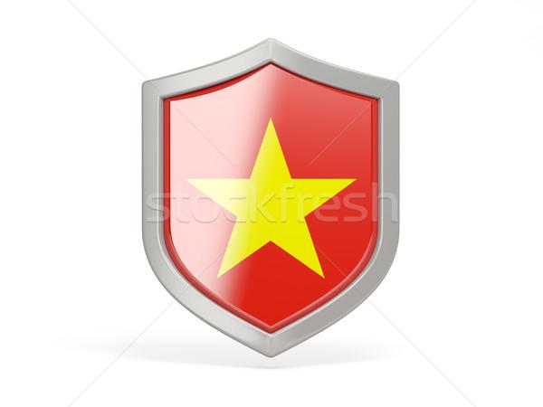 Escudo ícone bandeira Vietnã isolado branco Foto stock © MikhailMishchenko