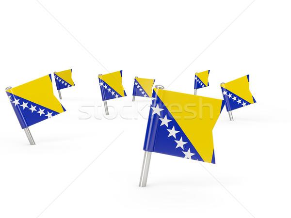 Cuadrados bandera Bosnia Herzegovina aislado blanco signo Foto stock © MikhailMishchenko