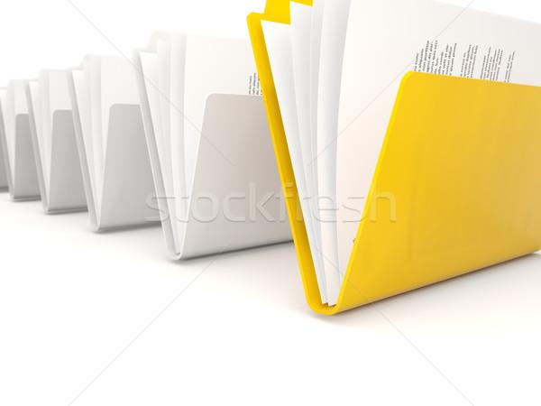 Citromsárga mappa csetepaté izolált fehér munka Stock fotó © MikhailMishchenko