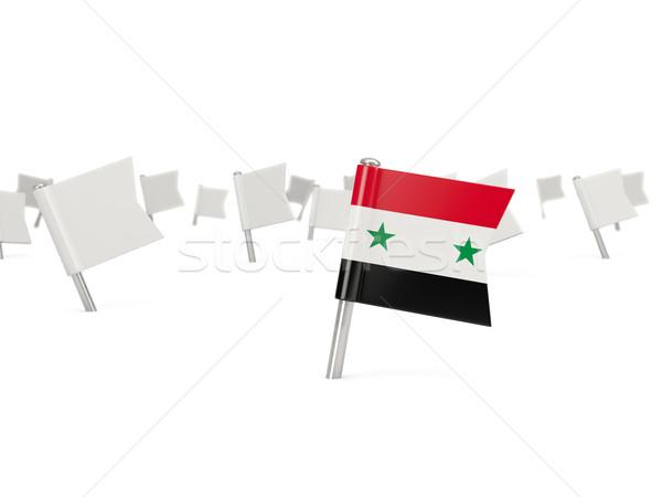 Vierkante pin vlag Syrië geïsoleerd witte Stockfoto © MikhailMishchenko