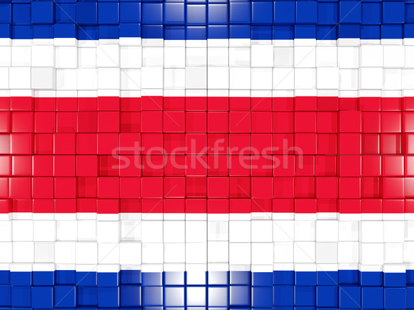 Stockfoto: Vierkante · onderdelen · vlag · Costa · Rica · 3D · mozaiek