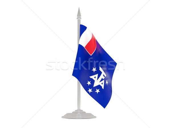 флаг французский южный флагшток 3d визуализации изолированный Сток-фото © MikhailMishchenko