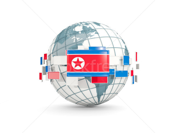 Globe with flag of korea north isolated on white Stock photo © MikhailMishchenko