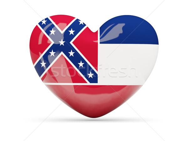 Bayrak kalp ikon yalıtılmış beyaz 3d illustration Stok fotoğraf © MikhailMishchenko