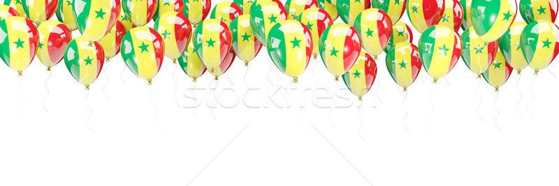 Léggömbök keret zászló Szenegál izolált fehér Stock fotó © MikhailMishchenko