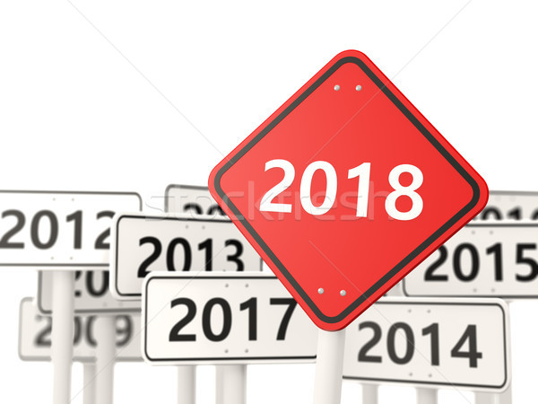 2018 New year symbol on a road sign Stock photo © MikhailMishchenko
