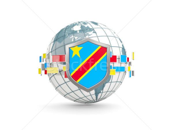 Dünya kalkan bayrak demokratik cumhuriyet Kongo Stok fotoğraf © MikhailMishchenko