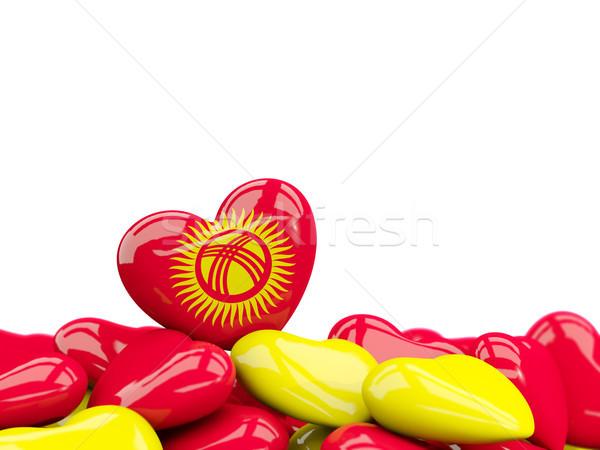 Kalp bayrak Kırgızistan üst kalpler yalıtılmış Stok fotoğraf © MikhailMishchenko