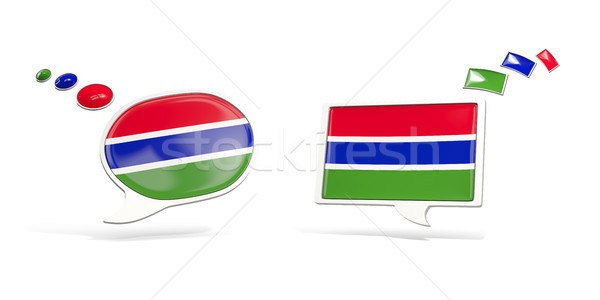 Two chat icons with flag of gambia Stock photo © MikhailMishchenko