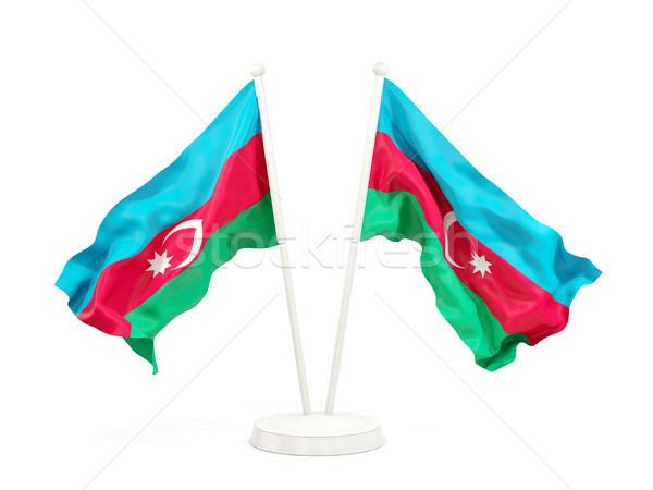 Twee vlaggen Azerbeidzjan geïsoleerd witte Stockfoto © MikhailMishchenko