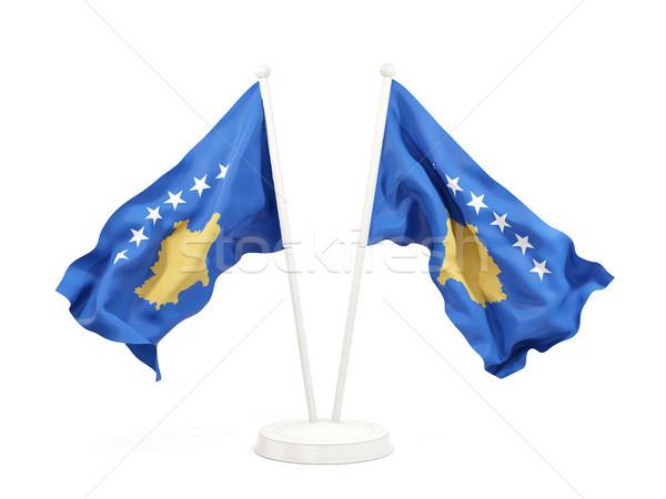 Dois bandeiras Kosovo isolado branco Foto stock © MikhailMishchenko