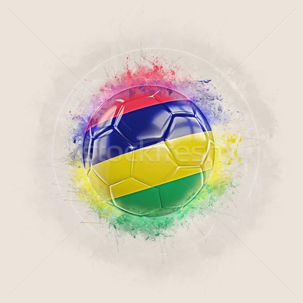Grunge piłka nożna banderą Mauritius 3d ilustracji świat Zdjęcia stock © MikhailMishchenko