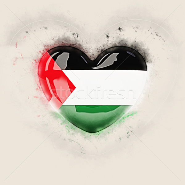 Stock photo: Heart with flag of palestinian territory