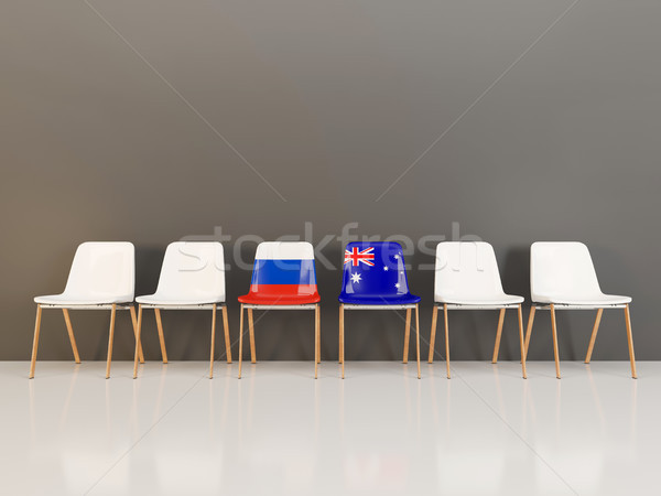 стульев флаг Россия Австралия 3d иллюстрации Сток-фото © MikhailMishchenko