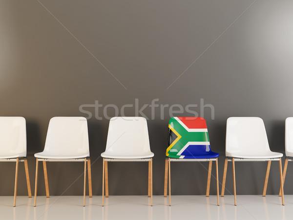 Sandalye bayrak Güney Afrika beyaz sandalye Stok fotoğraf © MikhailMishchenko