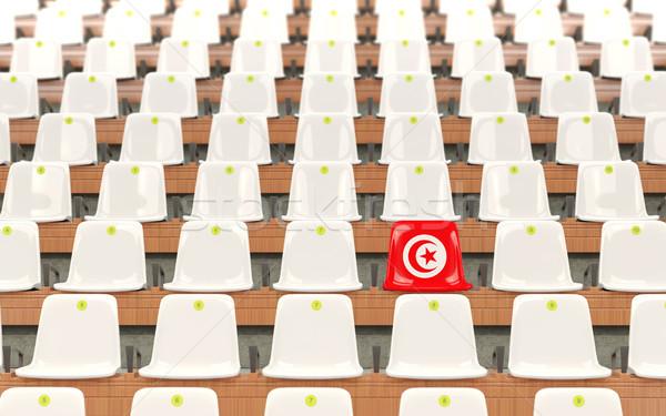Estádio assento bandeira Tunísia branco Foto stock © MikhailMishchenko