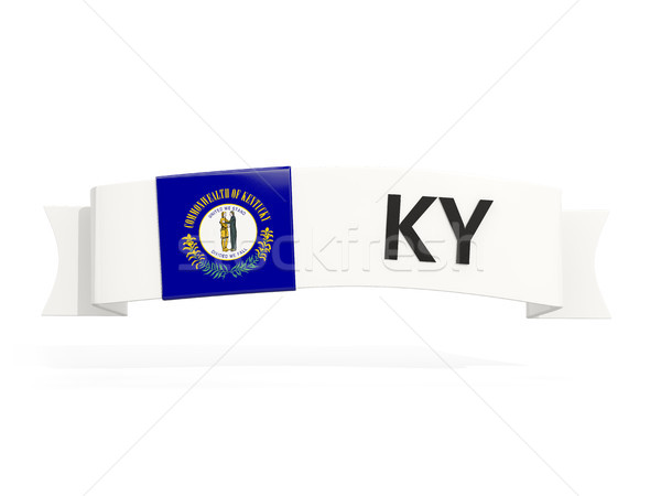 Stock photo: kentucky state flag on banner with postal abbreviation isolated