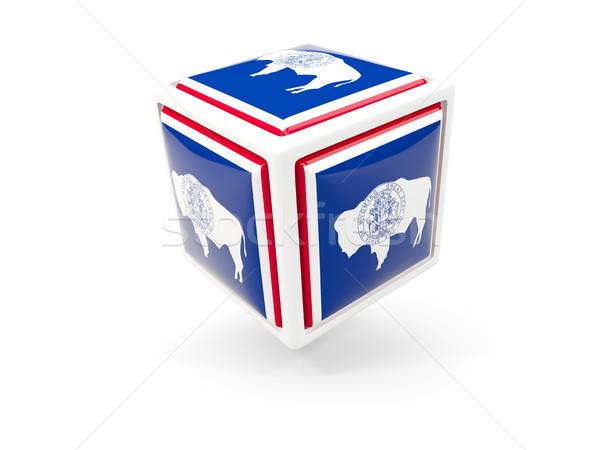 Wyoming bandera cubo icono Estados Unidos local Foto stock © MikhailMishchenko