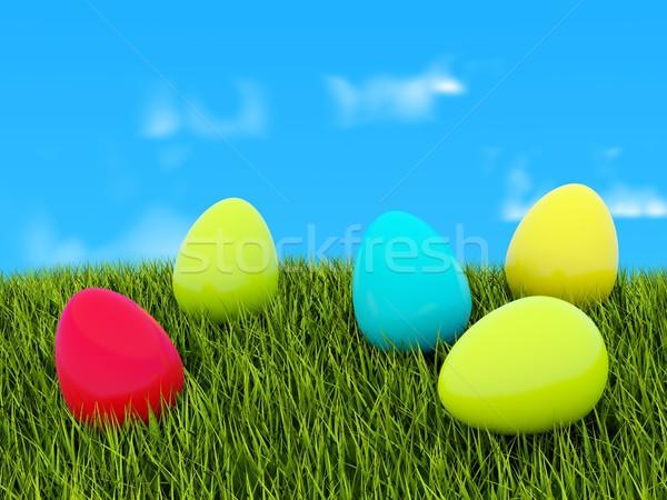 Gekleurde eieren groen gras veld groene Blauw park Stockfoto © MikhailMishchenko