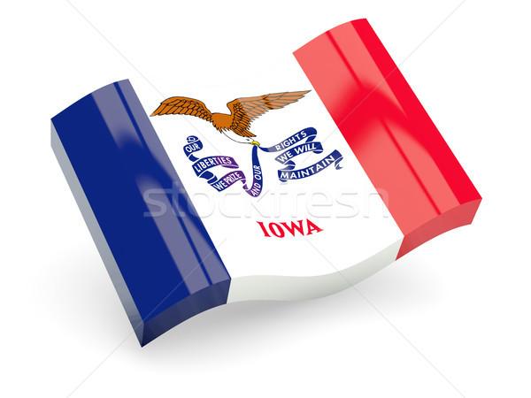 Hullámos ikon Iowa zászló USA Stock fotó © MikhailMishchenko