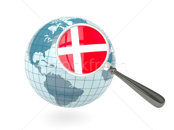 Magnified flag of denmark with blue globe Stock photo © MikhailMishchenko