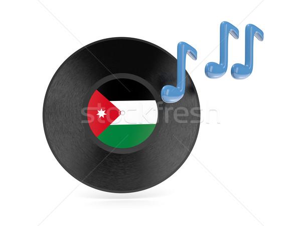 Winylu dysku banderą Jordania odizolowany biały Zdjęcia stock © MikhailMishchenko