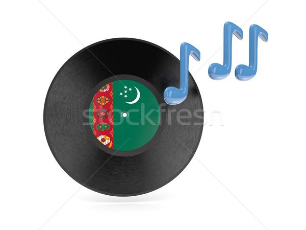 Winylu dysku banderą Turkmenia odizolowany biały Zdjęcia stock © MikhailMishchenko