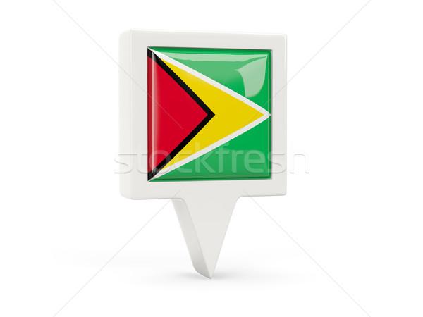 Vierkante vlag icon Guyana geïsoleerd witte Stockfoto © MikhailMishchenko