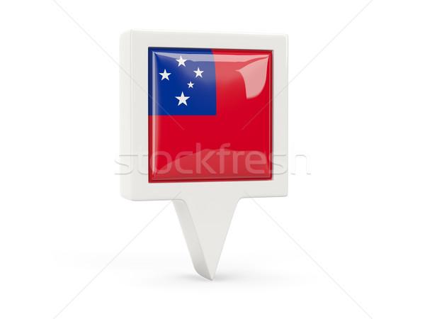 Vierkante vlag icon Samoa geïsoleerd witte Stockfoto © MikhailMishchenko