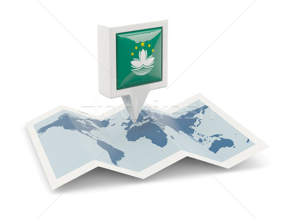 Square pin with flag of macao on the map Stock photo © MikhailMishchenko