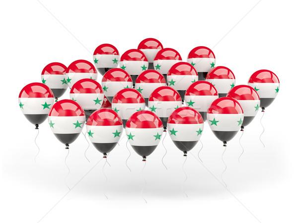 Foto stock: Balões · bandeira · Síria · isolado · branco · viajar