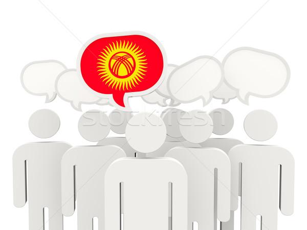 Insanlar bayrak Kırgızistan yalıtılmış beyaz toplantı Stok fotoğraf © MikhailMishchenko