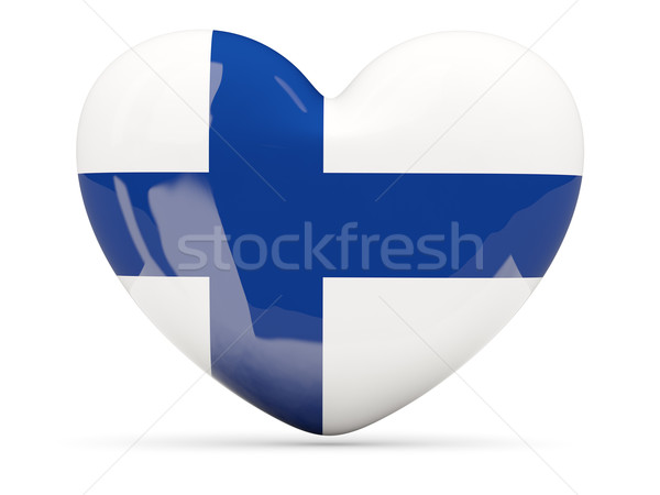 сердце икона флаг Финляндия изолированный Сток-фото © MikhailMishchenko