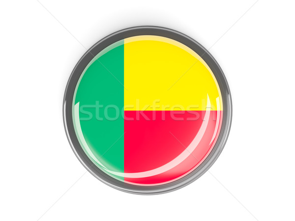 Pulsante bandiera Benin metal frame viaggio Foto d'archivio © MikhailMishchenko
