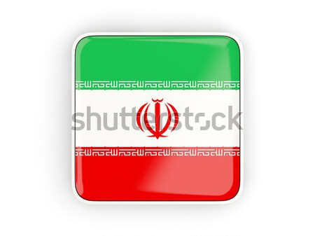 Tér ikon zászló Irán fém keret Stock fotó © MikhailMishchenko