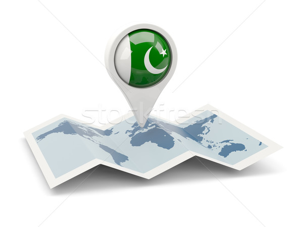 Pin vlag Pakistan kaart reizen witte Stockfoto © MikhailMishchenko
