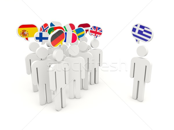 People with european and grecian flags Stock photo © MikhailMishchenko