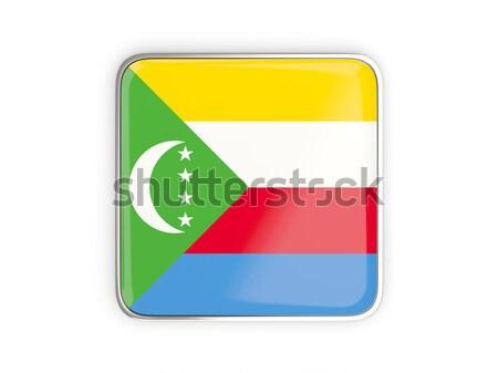 Square sticker with flag of comoros Stock photo © MikhailMishchenko