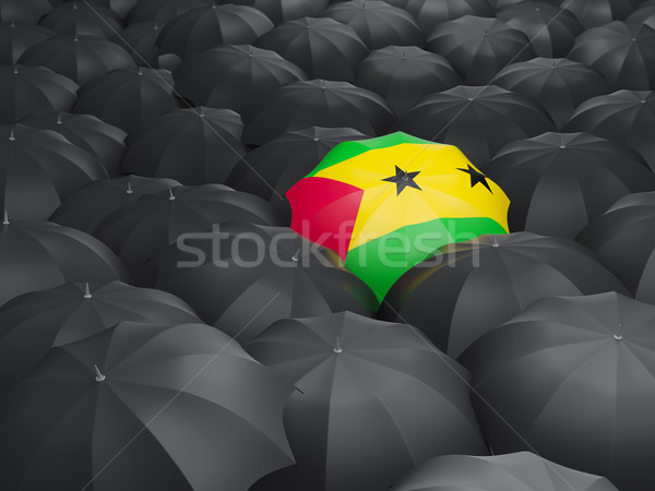 Umbrella with flag of sao tome and principe Stock photo © MikhailMishchenko