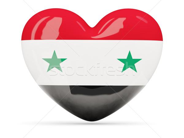 Coração ícone bandeira Síria isolado Foto stock © MikhailMishchenko