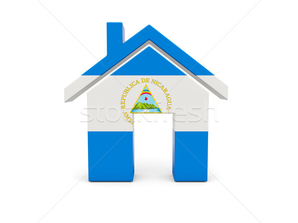 Casa bandeira Nicarágua isolado branco pesquisar Foto stock © MikhailMishchenko