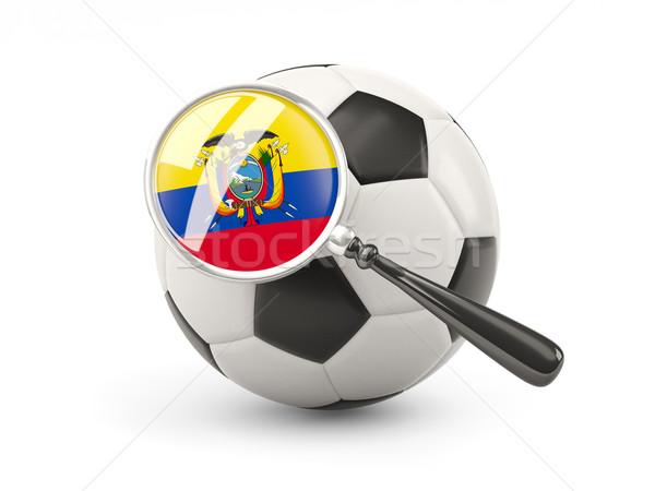 Futball nagyított zászló Ecuador izolált fehér Stock fotó © MikhailMishchenko