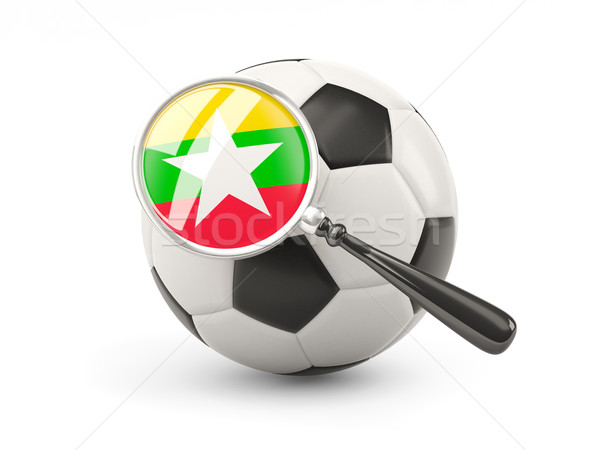 Voetbal vlag Myanmar geïsoleerd witte Stockfoto © MikhailMishchenko